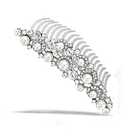 Bling Jewelry Simulated Pearl Rhinestone Bridal Tiara Comb Rhodium Plated (Pearl Tiara)