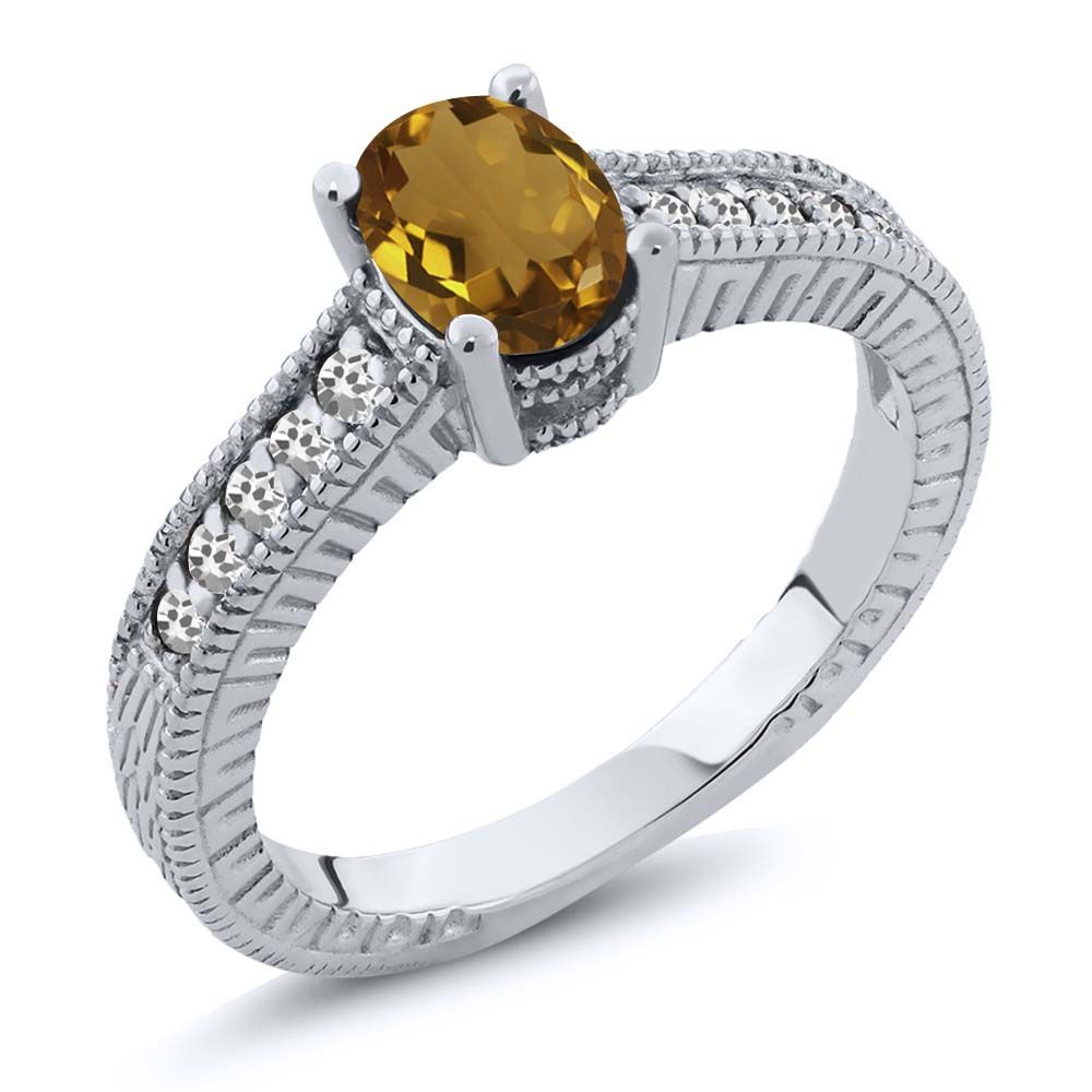 0.92 Ct Oval Champagne Quartz White Sapphire 925 Sterling Silver Engagement Ring