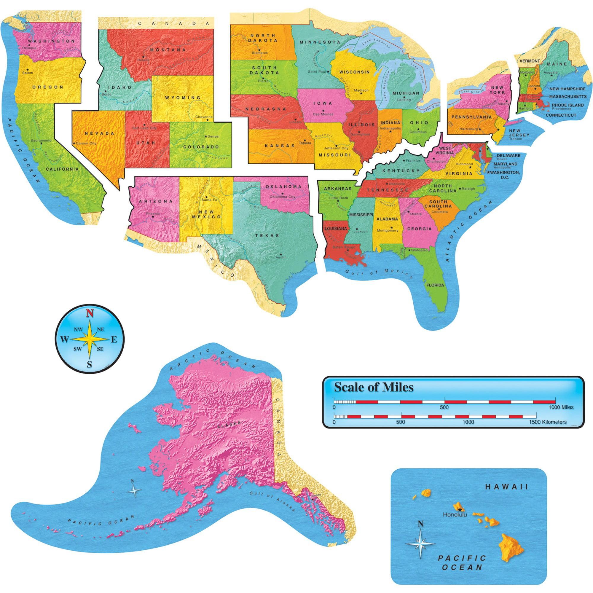 Trend, TEP8160, US Map Bulletin Board Set, 9 / Set, Multicolor