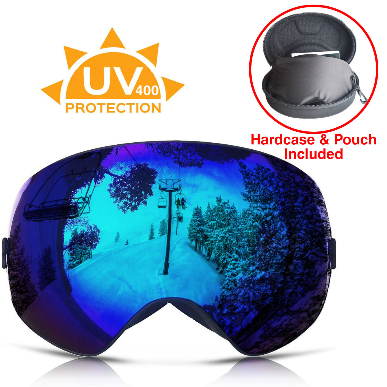 Xspec UV400 Snowboard Ski Snow Goggles w  Detachable Mirror Lens & Case, Blue Anti Fog by Clevr