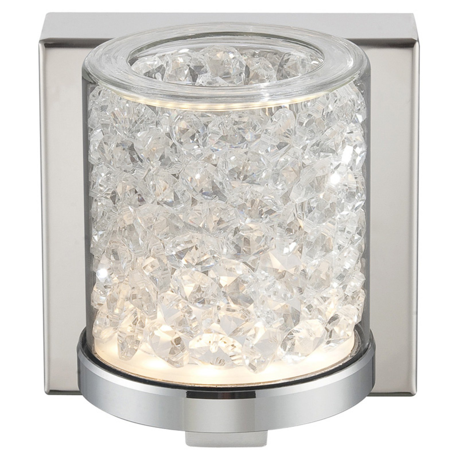 Lite Source Kristen LED Wall Lamp, Chrome Finish with Glass and Crystal Shade