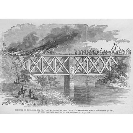 Burning The Georgia Central Railroad Bridge Over Ogeechee River By Federal Forces Under Colonel Jones Poster Print By Frank  Leslie