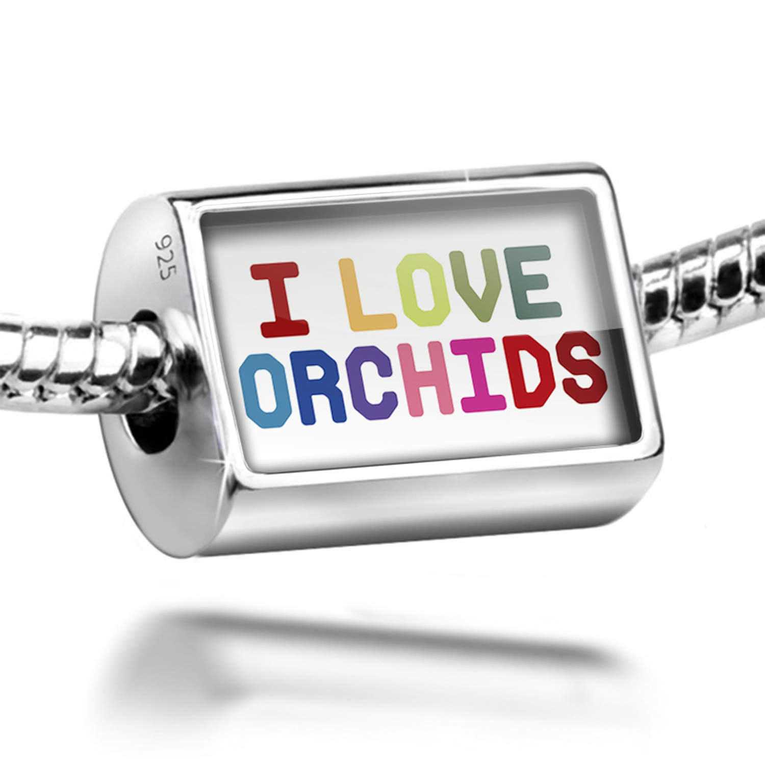 Bead I Love Orchids,Colorful Charm Fits All European Bracelets