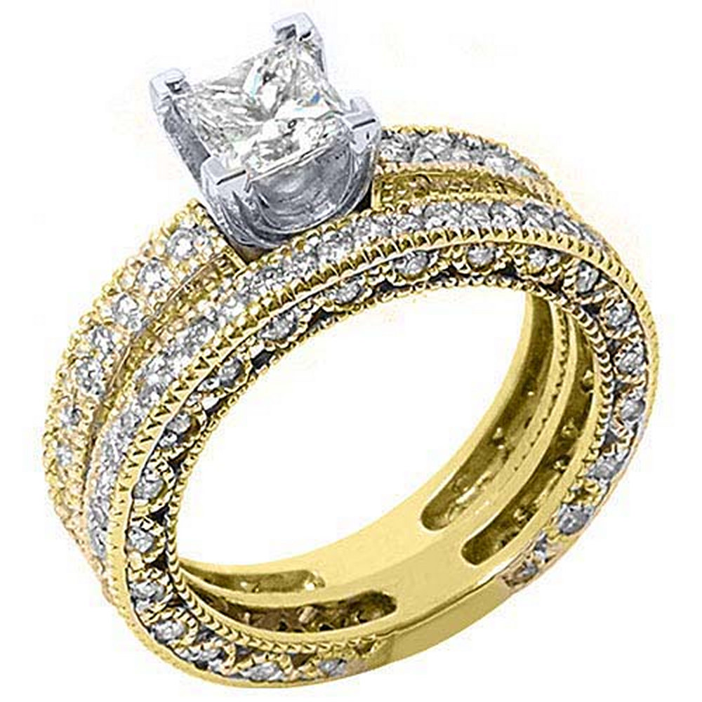 14k Yellow Gold Princess & Pave Diamond Engagement Ring Bridal Set 2.25 Carats