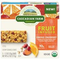 Cascadian Farm Orange Cranberry Fruit-Infused Chewy Granola Bars 5 – 6.2oz Carton