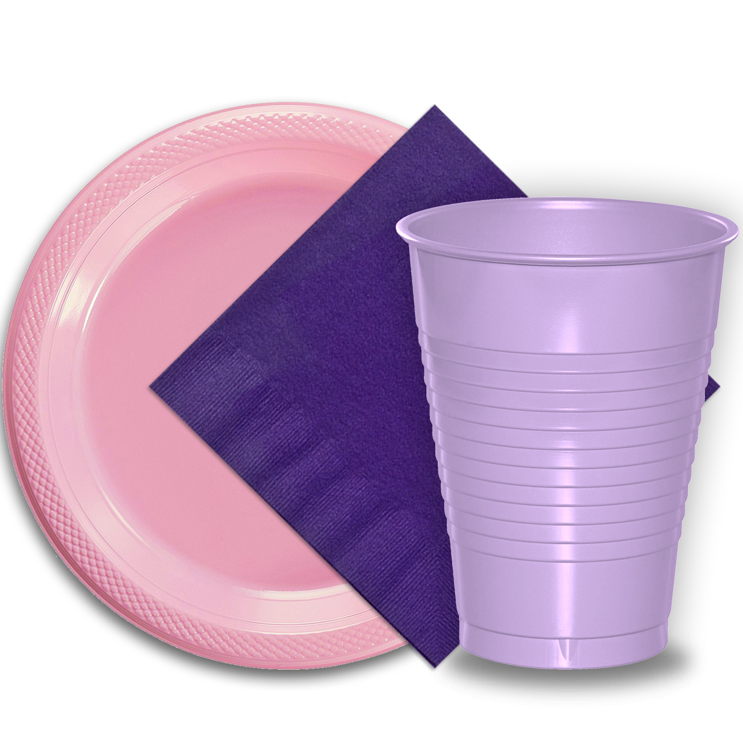 """50 Pink Plastic Plates (9""""), 50 Lavender Plastic Cups (12 oz.), and 50 Purple Paper Napkins, Dazzelling Colored Disposable Party Supplies Tableware Set for Fifty Guests."""