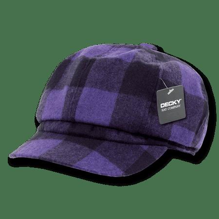 DECKY Newsboy Ivys Plaid Hat Cap Drivers Cabbie Gatsby For Men Women Purple Plaid ()