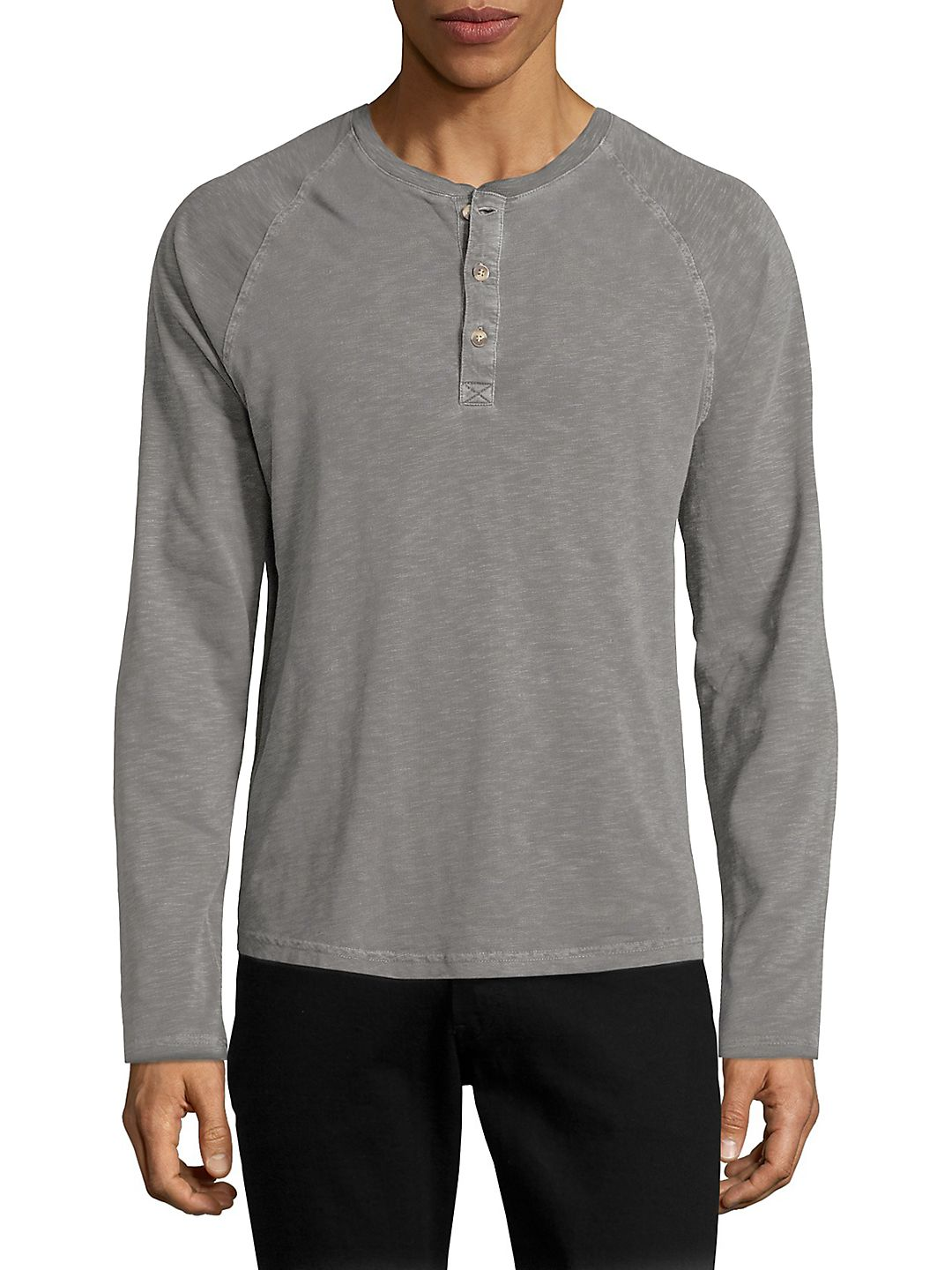 Raglan-Sleeve Cotton Henley