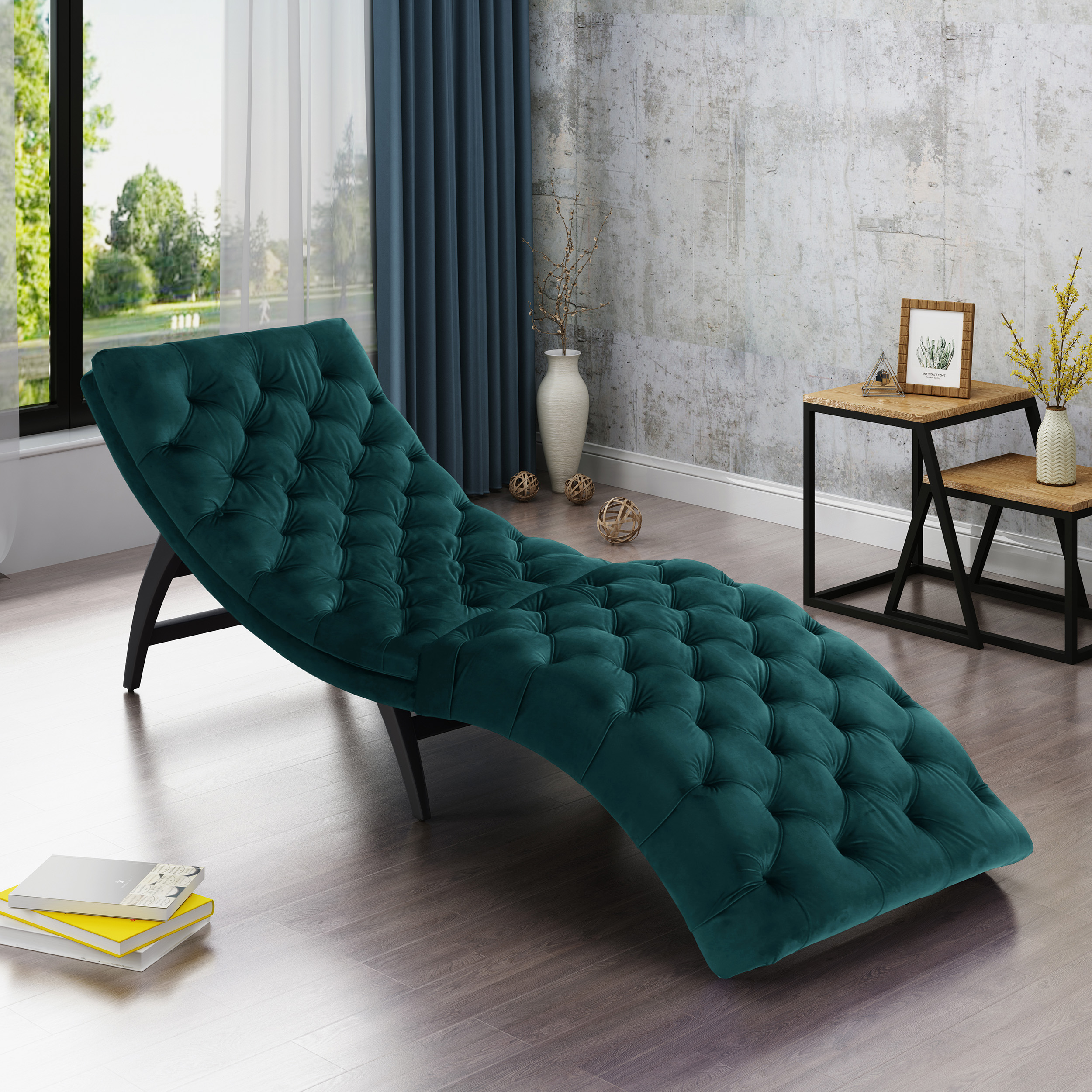 Noble House Wade Tufted New Velvet Chaise Lounge, Teal, Dark Brown