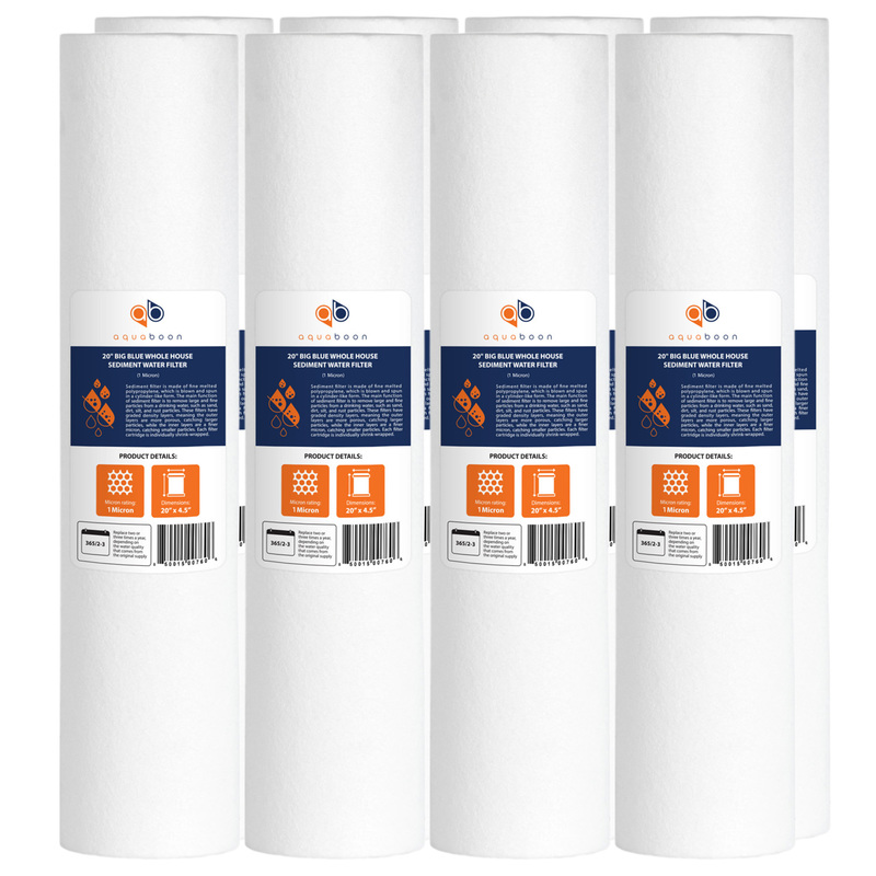 "8PK of Big Blue Whole House 1 Micron 20"" x 4.5"" Sediment Water Filter Cartridge by Aquaboon"