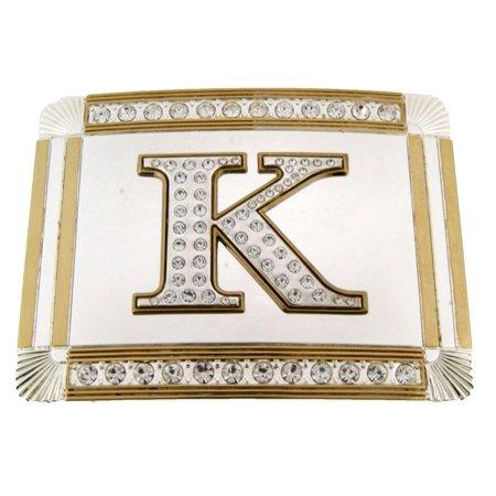 New Initial K Letter Alphabet Belt Buckle Western Cowboy Rodeo Gold Silver Shiny