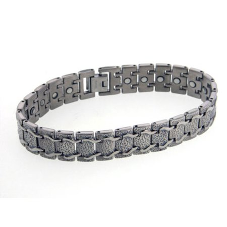 Mens Train Track Magnetic Therapy Titanium Metal Jewelry Link Bracelet  8