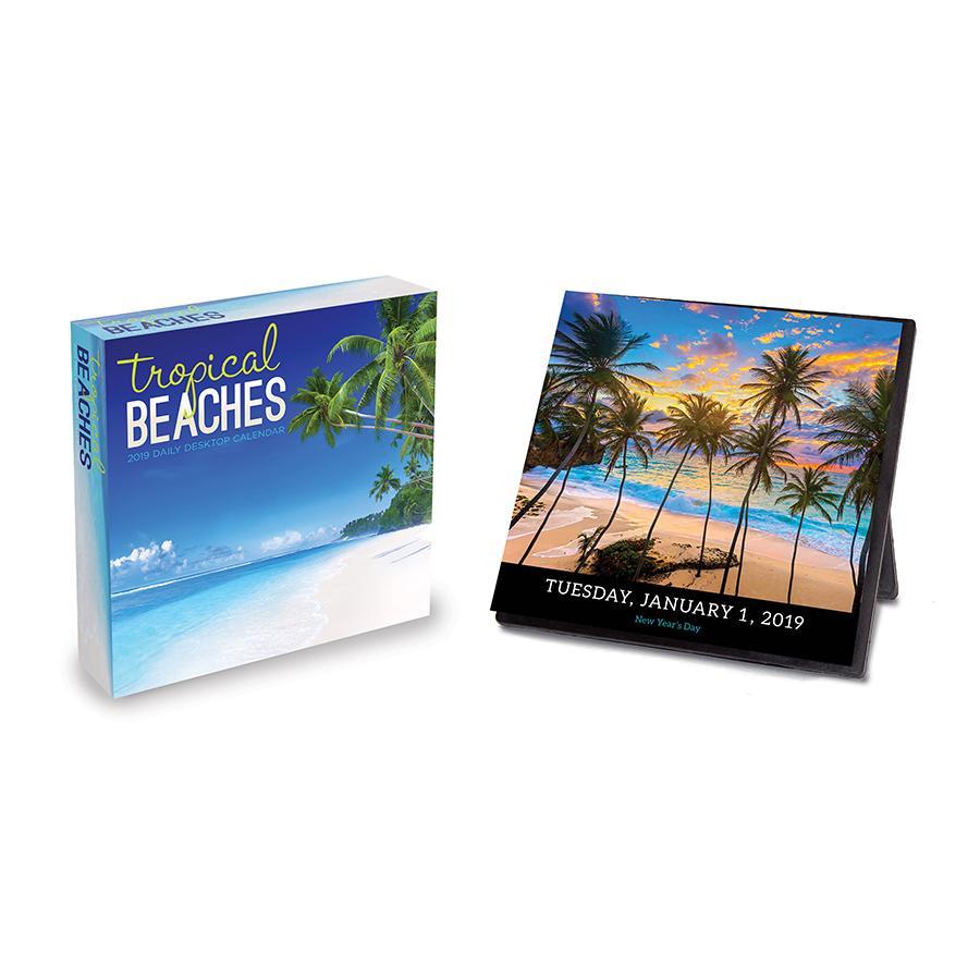 "2019 Tropical Beaches 5.5"" x 5.5"" January 2019-December 2019 Daily Desktop Calendar by TF Publishing"
