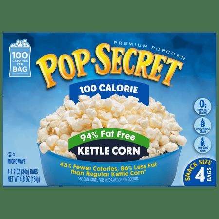 Pop Secret Popcorn  100 Calorie Pop  94  Fat Free Kettle Corn  4 Pack Box