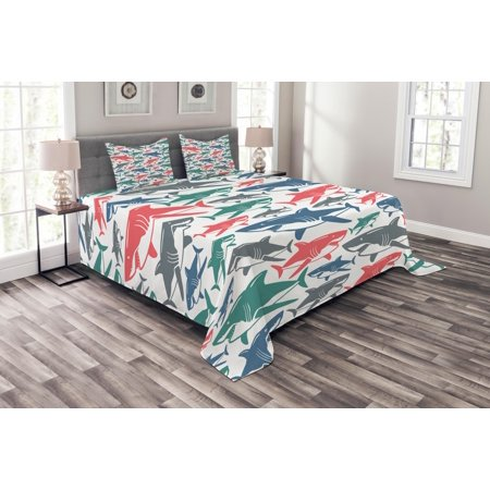 Shark Bedspread Set, Mix of Colorful Bull Shark Family Pattern Masters Survival Predators Dangerous Nature, Decorative Quilted Coverlet Set with Pillow Shams Included, Multicolor, by