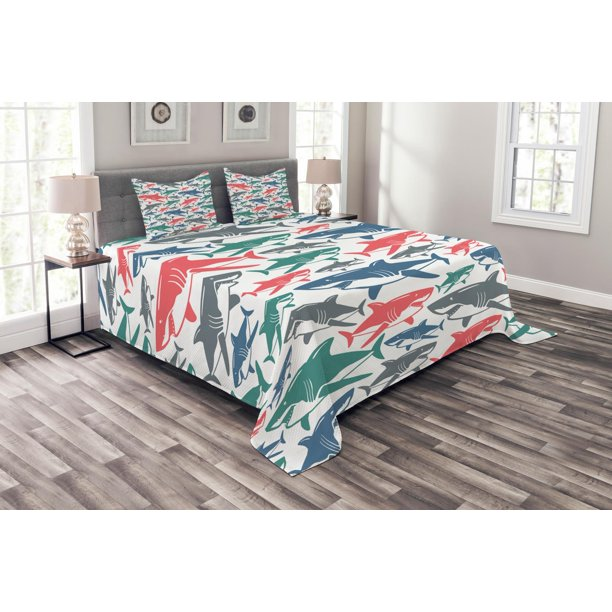 Shark Bedspread Set Mix Of Colorful Bull Shark Family Pattern Masters Survival Predators Dangerous Nature Decorative Quilted Coverlet Set With Pillow Shams Included Multicolor By Ambesonne Walmart Com Walmart Com