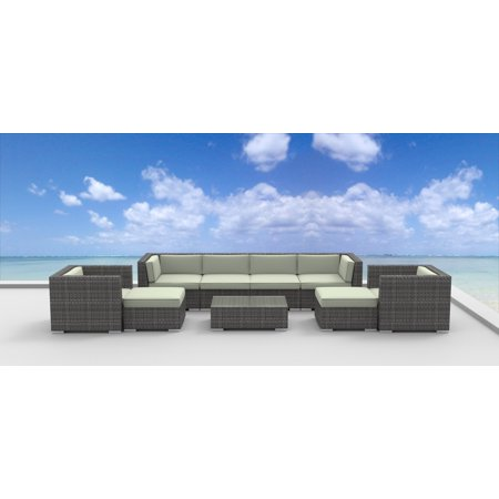 Urban Furnishing - FIJI 9pc Modern Outdoor Wicker Patio Furniture Modular Sofa Sectional Set, Fully Assembled - beige ()