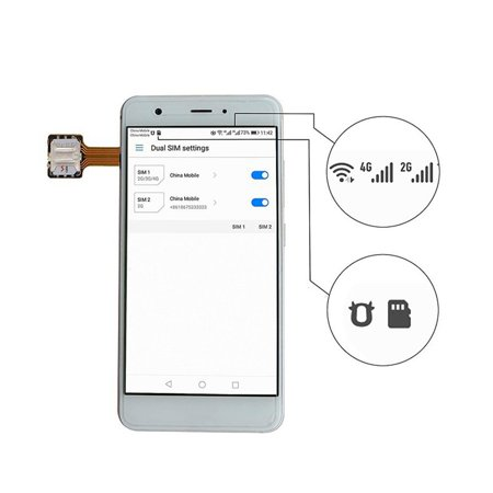 Universal Hybrid SIM Card Slot Dual SIM Card Adapter Extender Nano to Nano - image 2 of 10