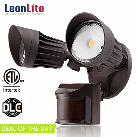 9133a5827a3e LEONLITE 20W Dual-Head Motion-Activated LED Outdoor Security Light for  Patio, Yard, Photocell Included, 3 Lighting Modes, 5000K Daylight, Bronze -  Walmart. ...