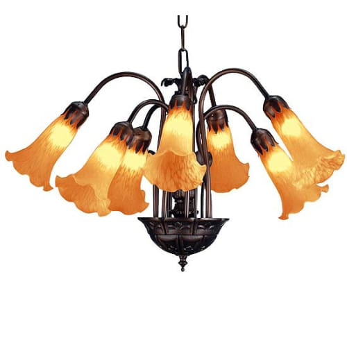 "Meyda Tiffany 11601 Amber Pond Lily 7-Light 20"" Wide Chandelier with Yellow Glass Shade"