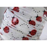 """3 yards of FOE 5/8 inch """"ladybug glitter"""" fold-over elastic ribbon"""