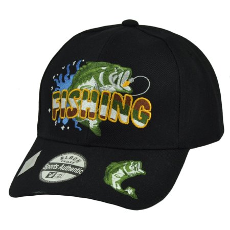 Fishing Hook Fish Bass  Black Camping Outdoor Sports Hat Cap Adjustable - Fish Hat