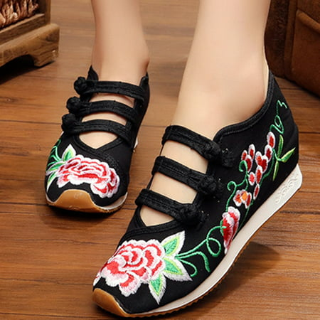 Meigar Women Embroidered Retro Shoes Casual Sneakers Chinese Style ()