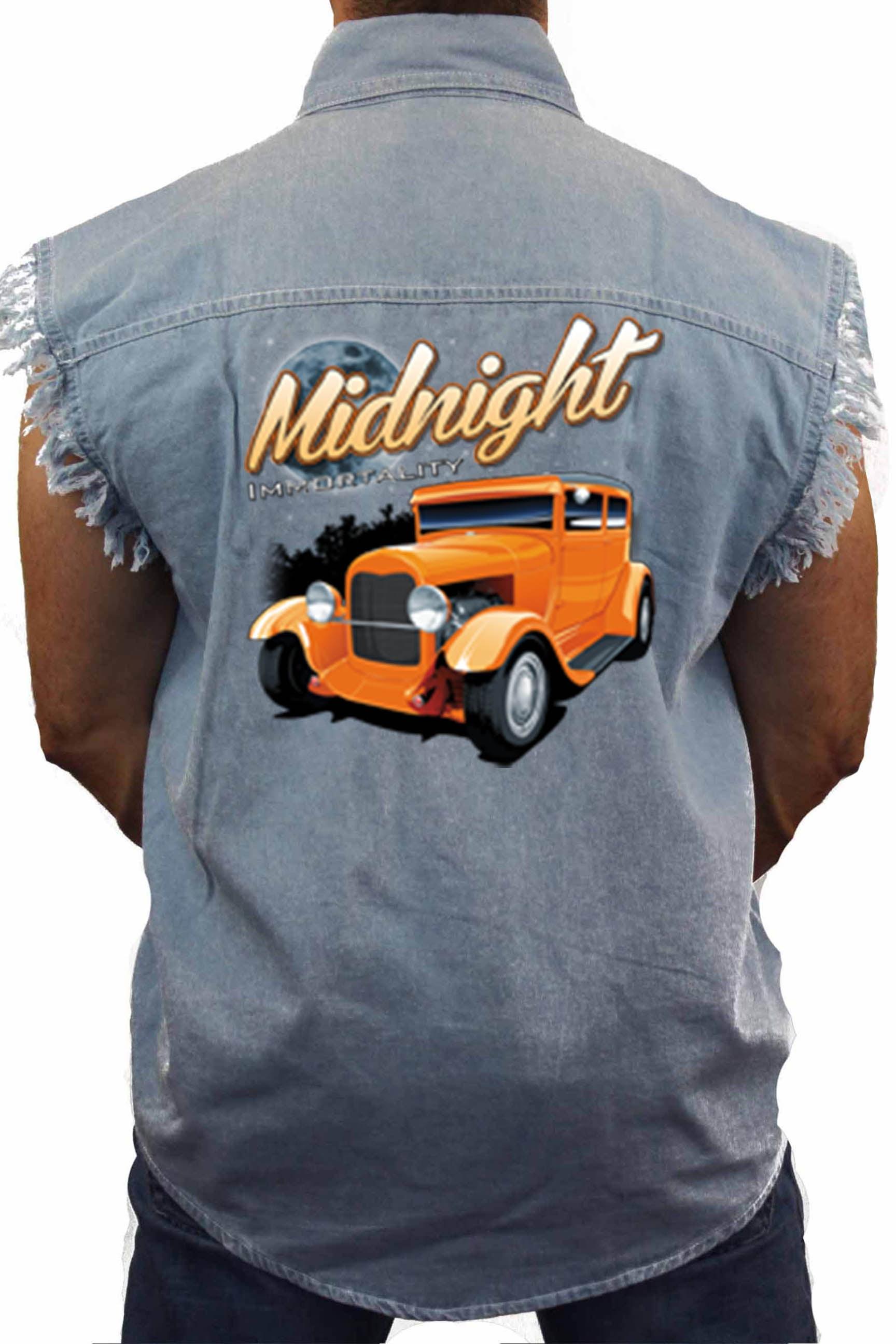 Mens Camo Sleeveless Denim Shirt Midnight Immortality Hot Rod Denim Vest