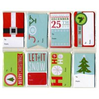 Christmas Glitter Gift Tags - Assorted Designs and Sizes - 48 Pack