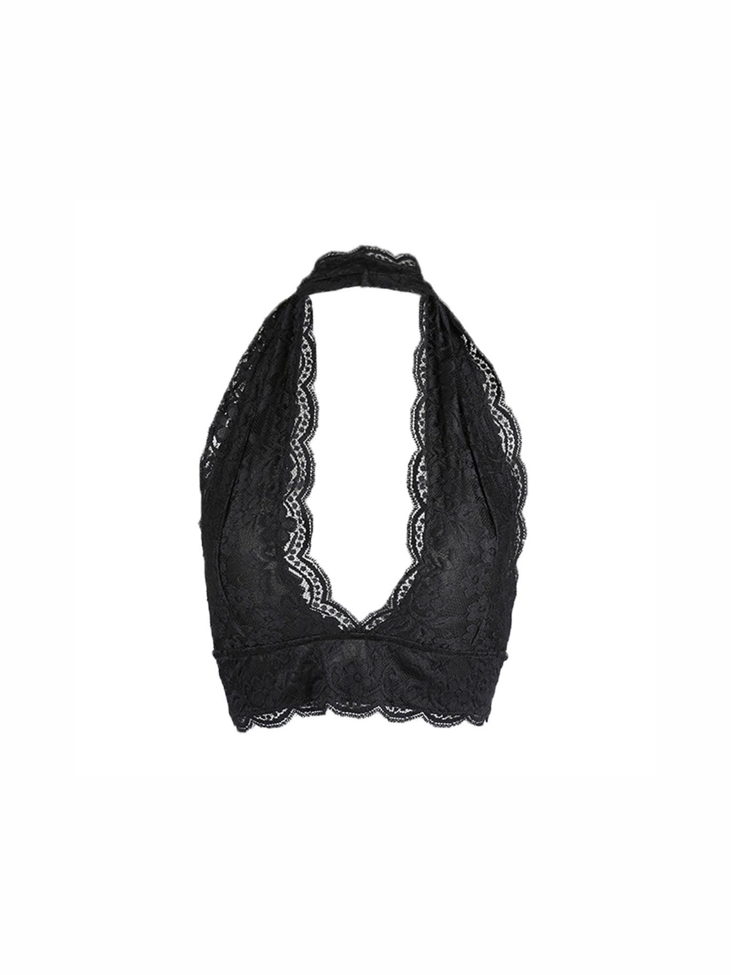 8109f2515d96c Unique Bargains Women s Scalloped Unpadded Lace Halter Crop ...
