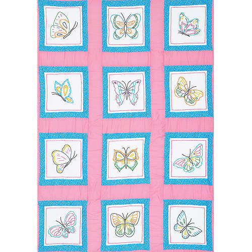 "Themed Stamped White Quilt Blocks 9"" x 9"" 12pk, Butterflies"