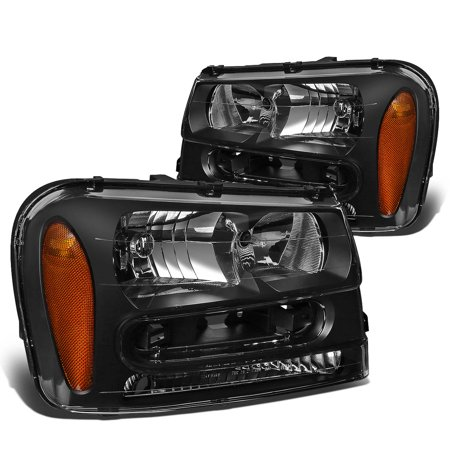 For 2002 to 2009 Chevy Trailblazer EXT Headlight Black Housing Amber Corner Headlamps 03 04 05 06 07 08