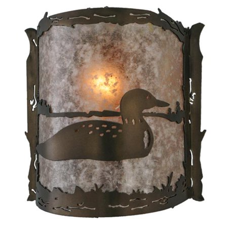 Meyda 143377 9 in. Loon Wall Sconce, Antique Copper & Silver Mica