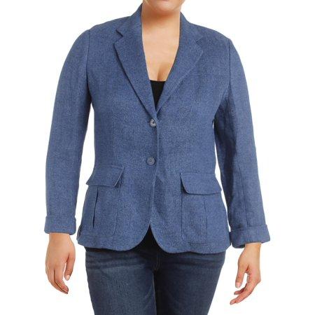 Lauren Ralph Lauren Womens Linen Textured Two-Button Blazer Blue 16