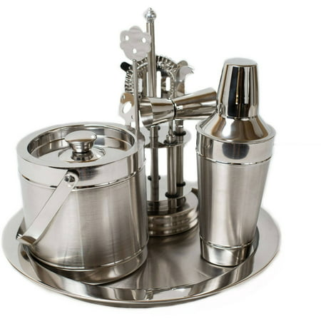 Birdrock Home 8pc Stainless Steel Bar Tool Set With Shaker Ice Bucket And Tray