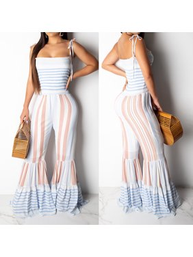 Sexy Women Clubwear Summer Playsuit Party Jumpsuit Romper Bell-bottom Trousers
