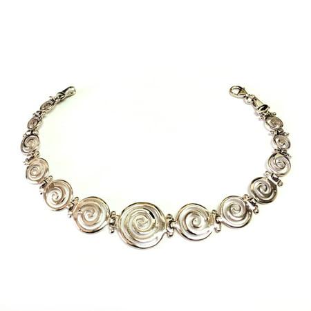 (Sterling Silver Rhodium Plated Greek Spiral Key Bracelet, 7.5