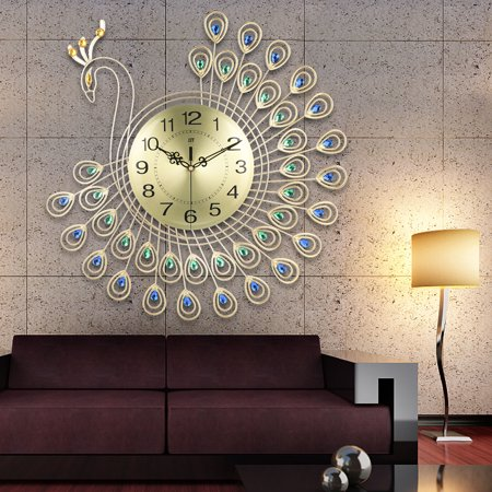 21inch Large 3D Wall Clock Watch Peacock 40pcs Diamonds Home Living room Bedroom Decorative Clock Diameter ()