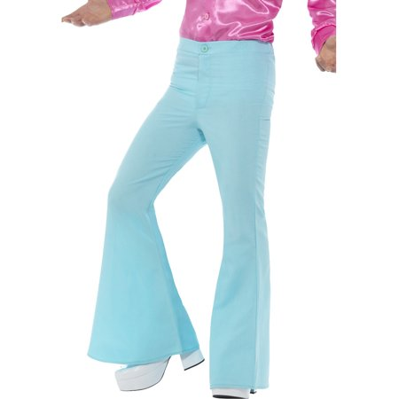 Mens 70s Groovy Disco Fever Flared Blue Pants Costume - Mens Pleather Pants Halloween Costume