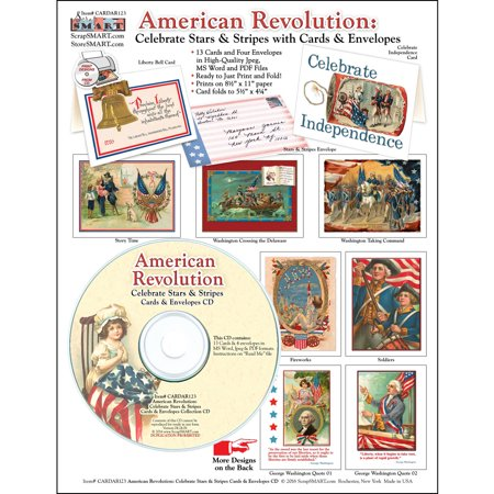 ScrapSMART American Revolution Cards and Envelopes CD-ROM, Vintage Designs for Scrapbook, Craft, Sewing