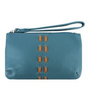 SILVERFEVER Cowhide Leather Wristlet Purse Wallet Whipstitched Detail (Turquoise)