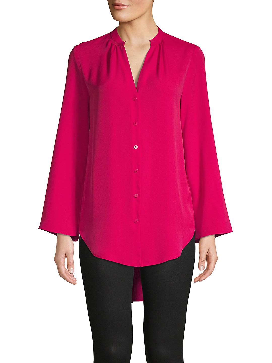 High-Low Bell-Sleeve Top