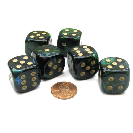 Chessex Scarab 20mm Big D6 Dice, 6 Pieces - Jade with Gold Pips #DC2005](Big Fluffy Dice)