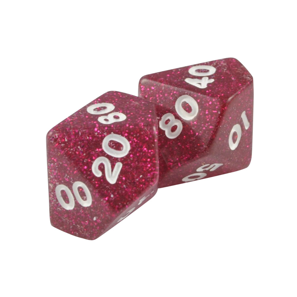 Pack of 2 DT10 Percentile 10 Sided Glitter Polyhedral Purple Red Dice in Snow Organza Bag
