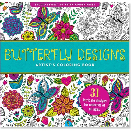 Butterfly Designs Artist's Coloring Book (31 Stress-Relieving Designs) (Paperback)