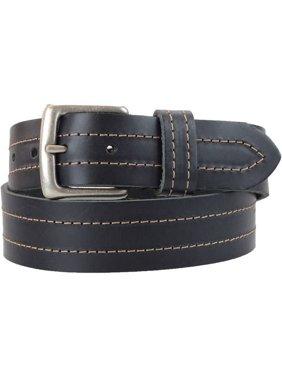 1-1/2 in. US Steer Hide Leather Double Stitch Men's Belt w/ Antq. Nickel Buckle- Black