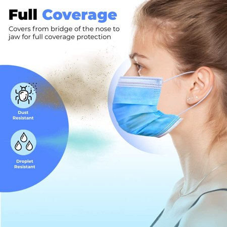 50pcs Disposable Face Mask Safety Mask Industrial Anti Dust for Personal Health 3Ply Ear Loop - image 10 of 13