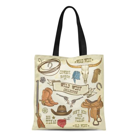 SIDONKU Canvas Tote Bag Western Wild West Collection Cowboy Stuff Texas Rodeo Longhorn Durable Reusable Shopping Shoulder Grocery Bag - Cowboy Stuff