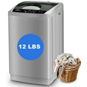 LifePlus 1.8 Cu.ft Full Automatic Portable Washing Machine, 12 lbs Capacity Top Load Pump Drain Compact Size Laundry Washer for Apartment, Gray