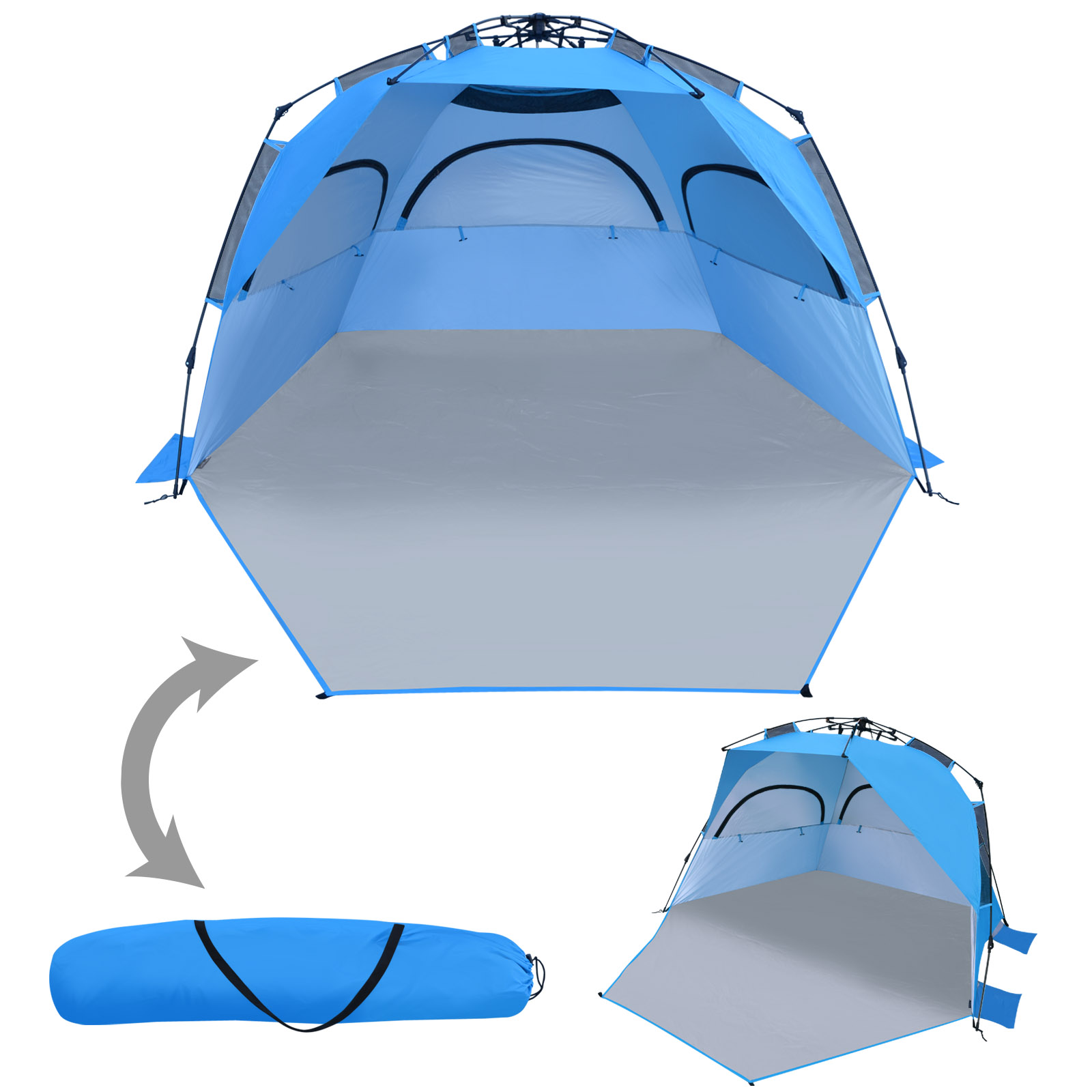 Sunrise Portable Beach Tent Sun Shelter Blue
